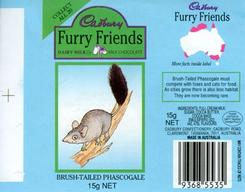 Furry friends Brush-Tailed Phascogale, milk chocolate, 15g, Cadbury confectionery, Claremont, Tasmania, Australia