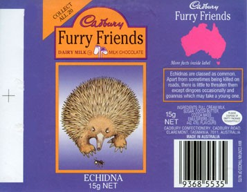 Furry friends Echidna, milk chocolate, 15g, Cadbury confectionery, Claremont, Tasmania, Australia