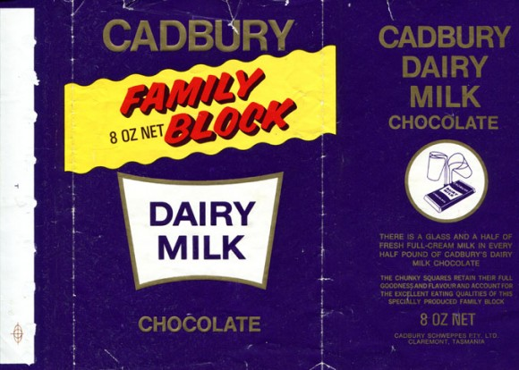 Cadbury family block, dairy milk chocolate, Cadbury Schweppes PTY. LTD, Claremont, Tasmania, Australia