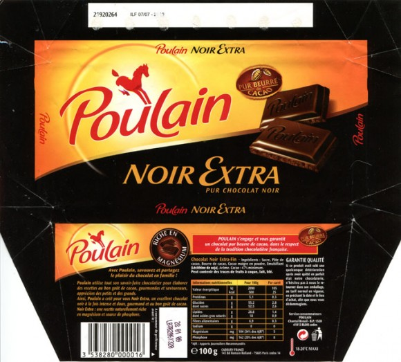 Poulain, extra fine dark chocolate, 100g, 28.01.2008, Cadbury France, 143 Bd Romain Rolland, Blois Cedex, France