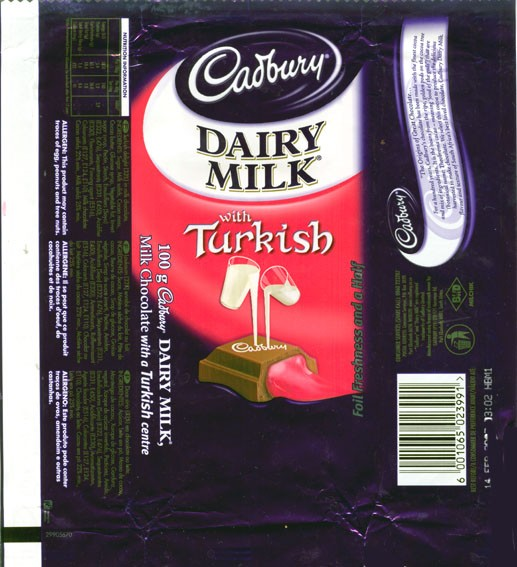 Milk chocolate with a Turkish centre, 100g, 14.02.2006, Cadbury South Africa Ltd., Port Elizabeth, South Africa