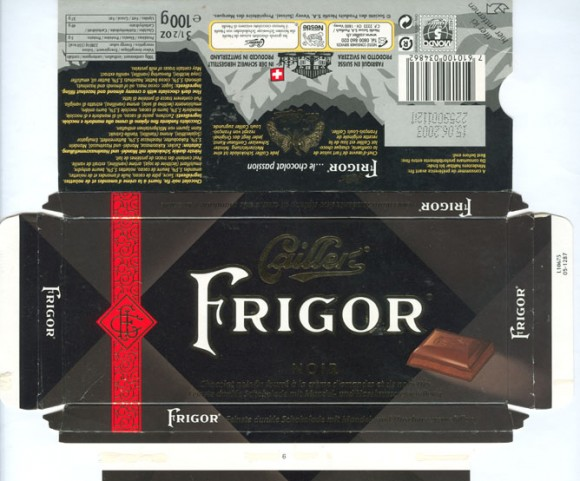 Fine dark chocolate with a creamy almond and hazelnut filling, 100g, 15.06.2002, Caillers, Switzerland