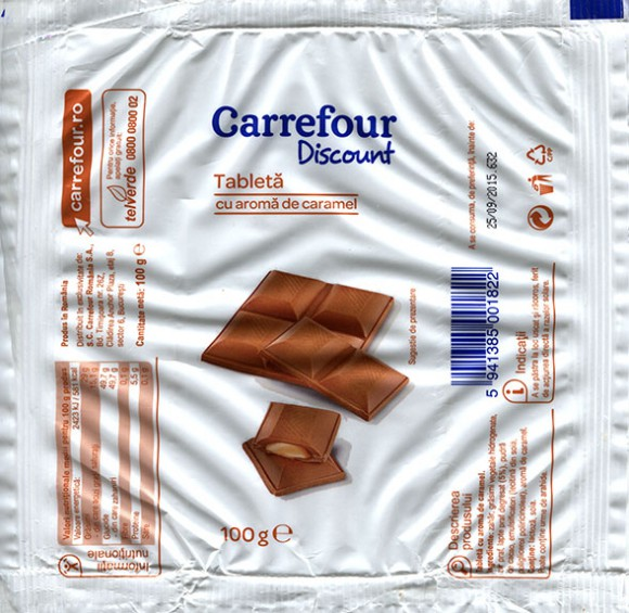 Cholate with caramel filled, 100g, 25.09.2014, S.C.Carrefour Romania S.A., Bucuresti