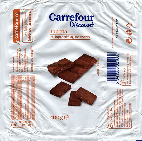 Cholate with pieces of coco, 100g, 14.03.2014, S.C.Carrefour Romania S.A., Bucuresti