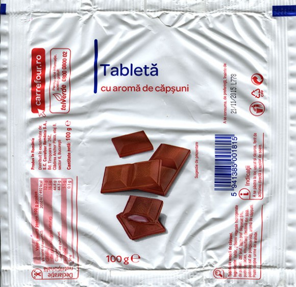 Chocolate tablet filled with berries cream flavoured, 100g, 21.11.2014, S.C.Carrefour Romania S.A., Bucuresti, Romania
