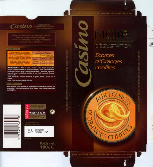 Noir Degustation, dark chocolate with orange, 100g, 02.2007, Casino, France