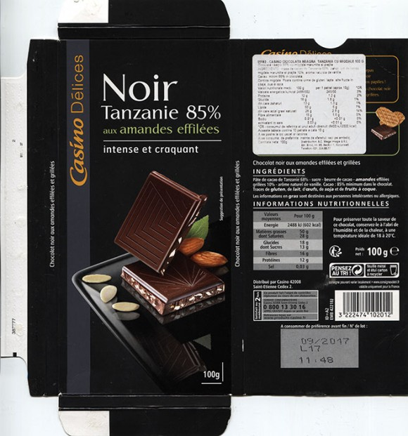 Noir Tanzanie 85%, dark chocolate with nuts, 100g, 09.2016, Casino, Saint-Etienne Cedex 2, France