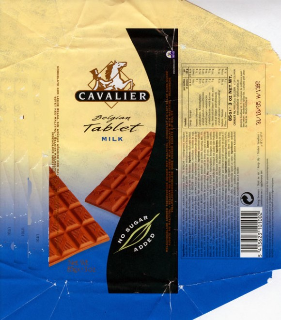 Belgian tablet, milk chocolate, sugar free, 85g, 31.10.2004, Cavalier NV, Eeklo, Belgium