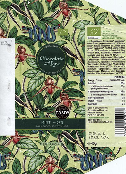 Organic dark chocolate with mint crunch, 40g, 03.03.2015, for Chocolate and Love Ltd.UK, made in Switzerland