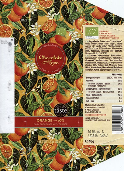 Organic chocolate with orange, 40g, 04.03.2015, for Chocolate and Love Ltd.UK, made in Switzerland
