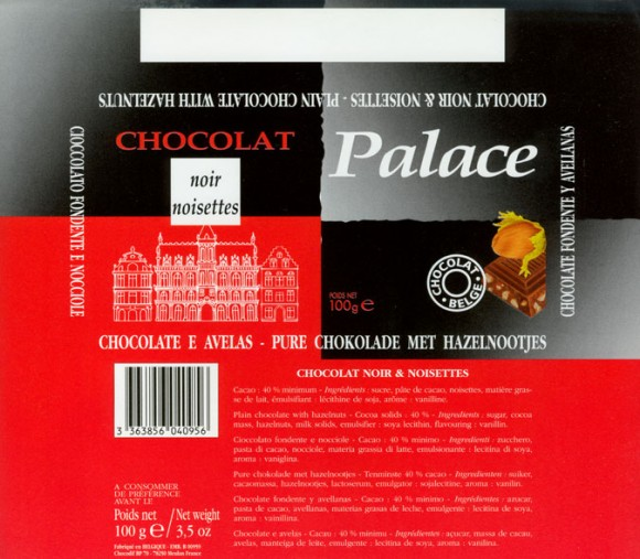 Palace, plain chocolate with hazelnuts, 100g, Made in Belgium for Chocodif BP, Meulan France
