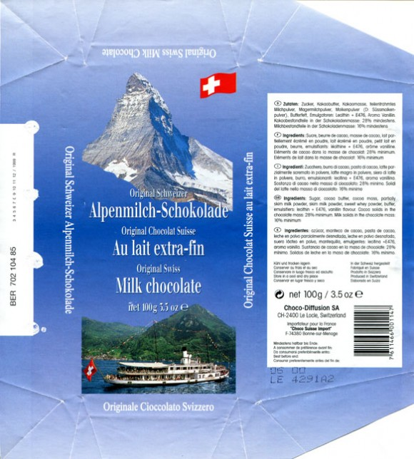 Original Swiss milk chocolate, 100g, 06.1999, Choco-Diffusion S.A, Le Locle, Switzerland