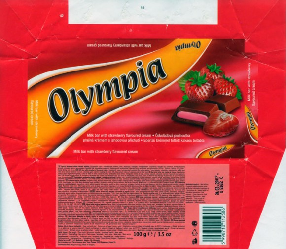 Olympia, milk bar strawberry flavoured cream, 100g, 24.03.2006, Choko Service BT, Budapest, Hungary