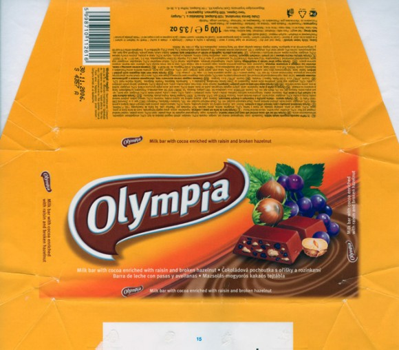 Olympia, milk bar with cocoa enriched with raisin and broken hazelnut, 100g, 30.11.2005, Choko Service, Budapest, Hungary