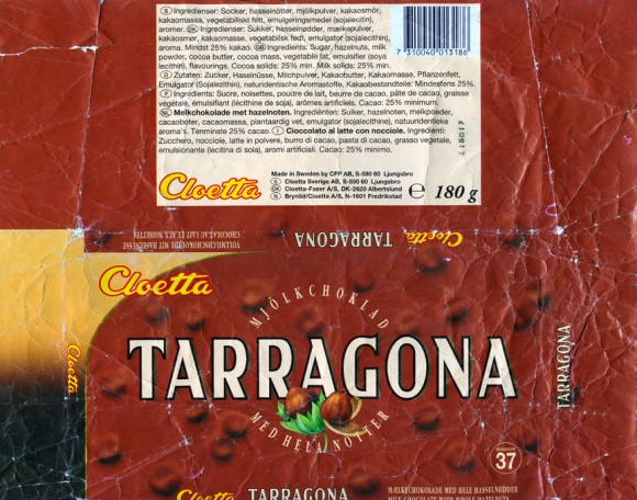 Tarragona, milk chocolate with whole hazelnuts,180g, 
