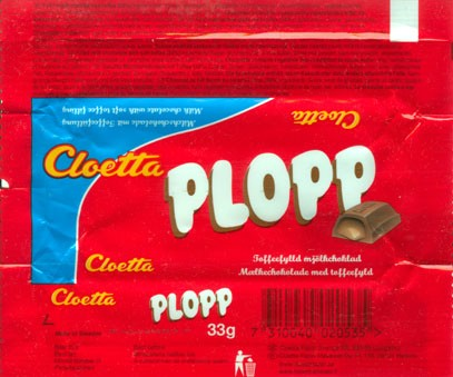 Plopp, filled milk chcolate with soft toffee 34%, 33g, 27.03.2006, Cloetta Fazer Sverige AB, Ljungsbro, Sweden