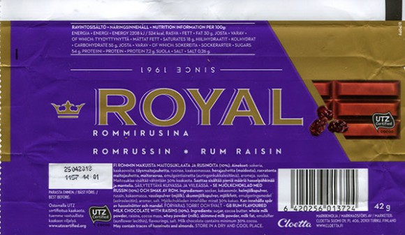 Royal, rum flavoured milk chocolate with raisins, 42g, 25.04.2017, Cloetta Suomi Oy, Turku, Finland