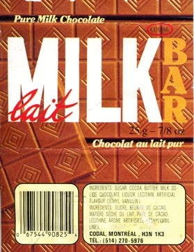 Milk chocolate, 25g, 02.09.1991, Codal, Montreal, Canada