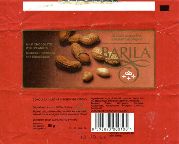 Barila, Orion, milk chocolate with peanuts, 50g, 13.10.1992, Cokoladovny a.s., o.z. Orion, Czech Republic