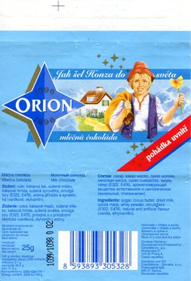 Milk chocolate, 25g, Cokoladovny a.s., o.z. Orion, Czech Republic