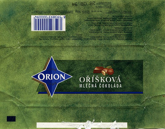 Orion, milk chocolate with nuts, 50g, 28.08.1993, Cokoladovny a.s., Praha, Czech Republic