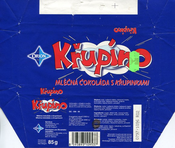 Krupino, milk chocolate with granules, 85g, 10.1996, Cokoladovny a.s., Orion, Praha, Czech Republic