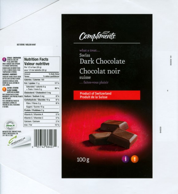 Compliments, Swiss dark chocolate, 100g, imported for Sobeys, Mississauga, product of Switzerland