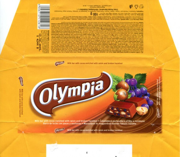 Olympia, milk bar with cocoa enriched with raisin and broken hazelnut, 100g, 10.06.2005, Choco Service International, Budapest, Hungary