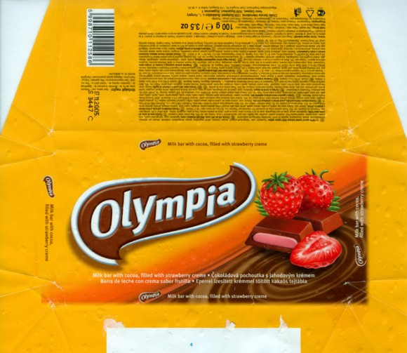 Olympia, milk bar with cocoa, filled with strawberry creme, 100g, 17.11.2004, Csoki Hungaria Kft, Budapest,Hungary