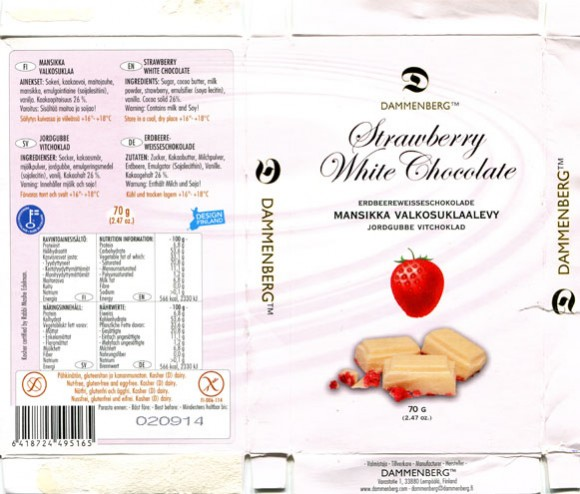 Strawberry white chocolate, 70g, 02.09.2013, Dammenberg, Lempaala, Finland