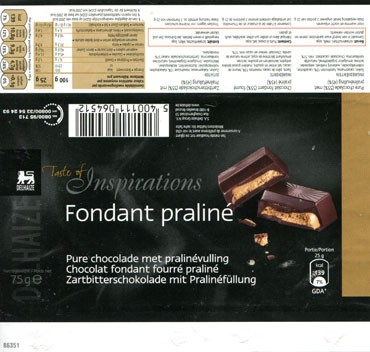 Taste of inspiration, pure chocolate with praline filling, 75g, about 2013, S.A. Delhaize Group N.V., Bruxelles-Brussel, Belgium