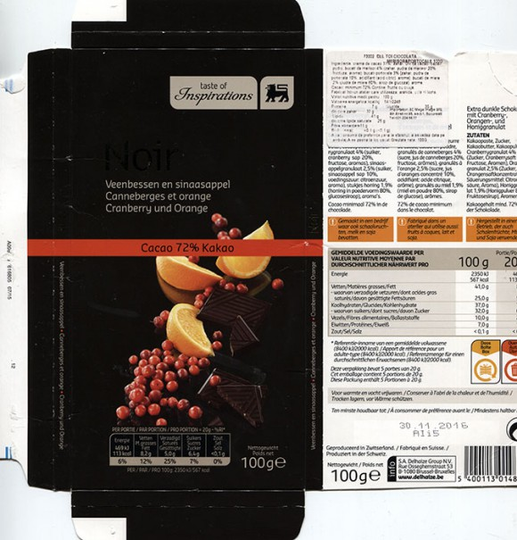 Taste of inspiration, extra pure chocolate with cranberry and orange, 100g, 30.11.2015, S.A. Delhaize Group N.V., Bruxelles-Brussel, Made in Switzerland