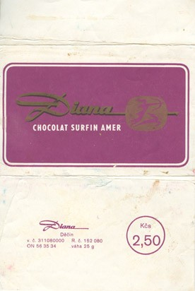 Chocolat surfin amer, milk chocolate, 25g, 1970, Diana, Decin, Czech Republic (CZECHOSLOVAKIA)