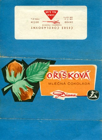 Milk chocolate with nuts, 50g, about 1960, Diana, Decin, Czech Republic (CZECHOSLOVAKIA)