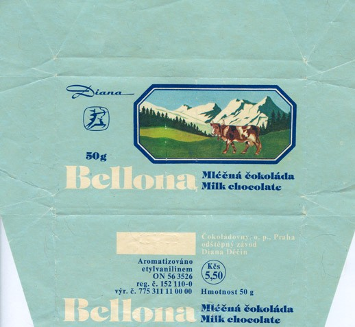 Milk chocolate, 50g, about 1986, Diana, Decin, Czech Republic (CZECHOSLOVAKIA)