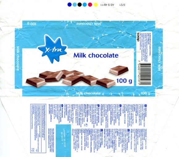X-tra, Milk chocolate, 100g, 02.2012, DIPA SAS, France
