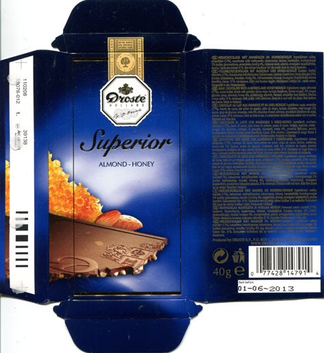 Milk chocolate with almonds and honey-nougat, 40g, 01.06.2012, Droste B.V., Vaassen, Netherland