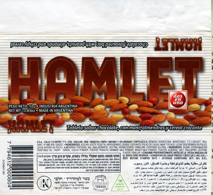 Hamlet, chocolate flavoured bar, with peanuts, almonds and rispy cereal, 52g, 