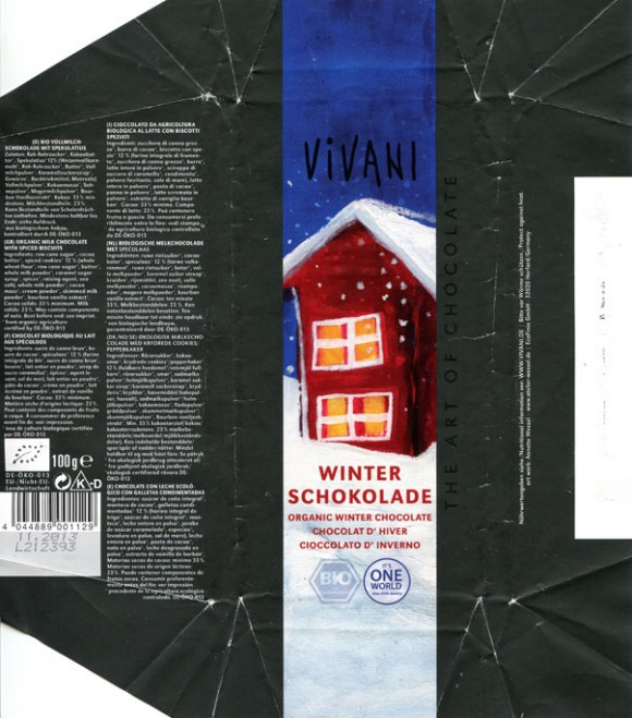 Vivani, organic winter milk chocolate with spiced biscuits, 100g, 11.2012, EcoFinia GmbH, Herford, Germany/ art work Annette Wessel