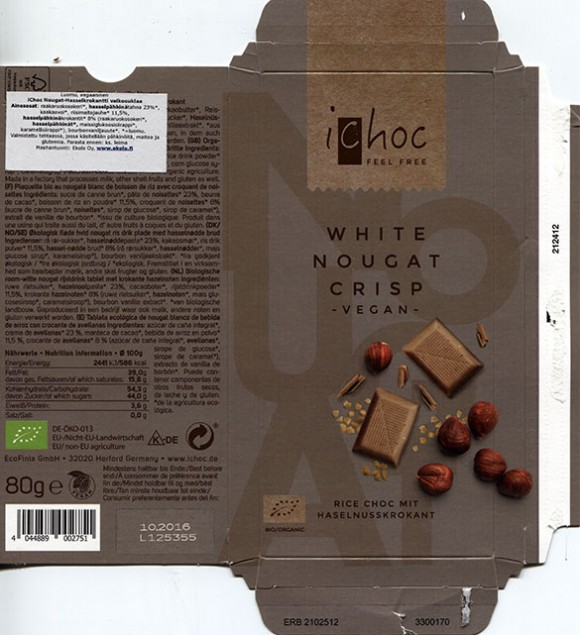 ichoc feel free, white chocolate with nougat and hazelnuts brittle, 80g, 10.2015, EcoFinia GmbH, Herford, Germany/ art work Annette Wessel