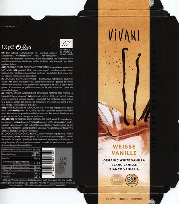 Vivani, organic white chocolate with vanilla, 100g, 07.2014, EcoFinia GmbH, Herford, Germany/ art work Annette Wessel