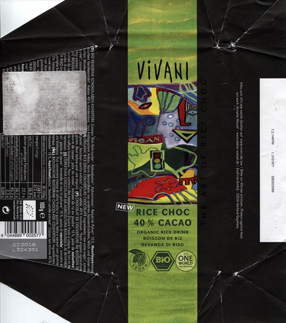 Vivani, organic rice drink couverture chocolate, 100g, 02.2015, EcoFinia GmbH, Herford, Germany/ art work Annette Wessel