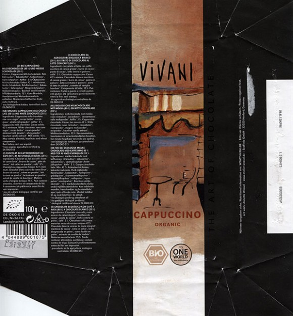 Vivani, organic cappuccino milk chocolate, 100g, 02.2014, EcoFinia GmbH, Herford, Germany/ art work Annette Wessel