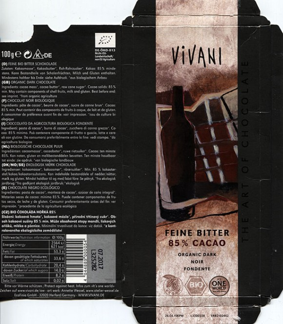 Vivani, organic dark chocolate, 100g, 07.2016, EcoFinia GmbH, Herford, Germany/ art work Annette Wessel
