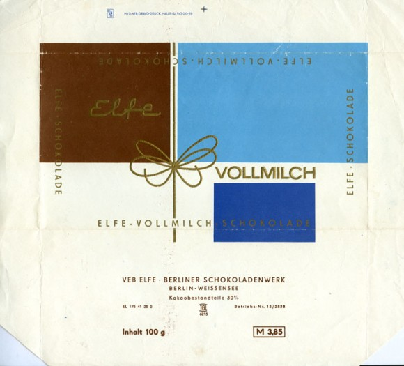 Milk chocolate, 100g, 1970, Elfe, Berlin-Weissensee, Germany