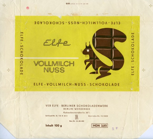 Milk chocolate with hazelnuts, 100g, 1969, Elfe, Berlin-Weissensee, Germany