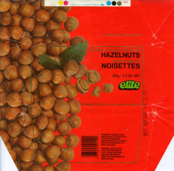 Bittersweet chocolate with whole hazelnuts, 100g, 15.02.1990, Elite Industries Ltd, Ramat-Gan, Israel