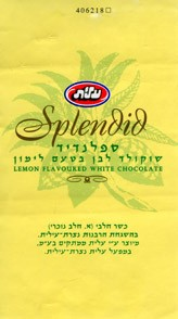 Splendid, lemon flavoured white chocolate, Elite Industries Ltd, Ramat-Gan, Israel