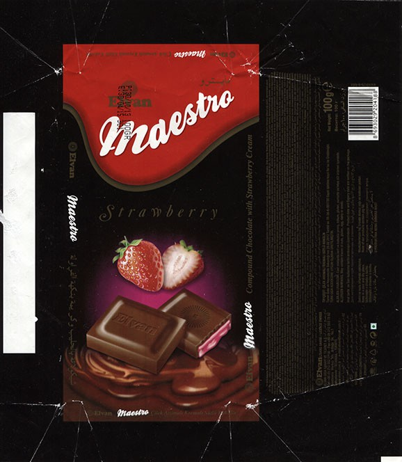 Maestro, compound chocolate with strawberry cream, 100g, 30.10.2013, Elvan Gida Sanayi, Istanbul, Turkey