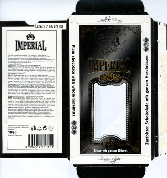 Imperial, plain chocolate with whole hazelnuts, 100g, 03.2006, Elysia, Germany
